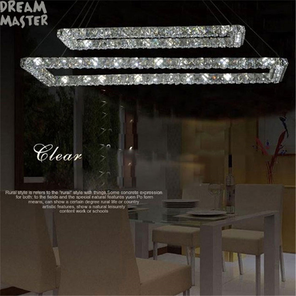 2 Rectangle LED lustres chandeliers K9 crystal stainless steel leds chandelier 3 sides crystal led kitchen