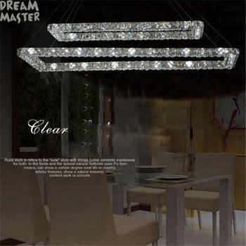 2 Rectangle LED lustres chandeliers K9 crystal stainless steel leds chandelier 3 sides crystal led kitchen room lighting - Category 🛒 Lights & Lighting