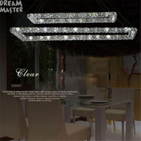 37W 2 Rectangle LED Lustres Chandeliers K9 Crystal Stainless Steel Leds Chandelier 3 Sides Crystal Led