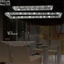 2 retângulo led lustres de cristal k9 aço inoxidável leds lustre 3 lados cristal led iluminação da sala cozinha
