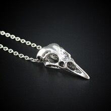 Drop Shipping 2017 New Men Women's Jewelry Vintage Silver Bronze Tone Bird Skull Pendant Short Necklace ED4489