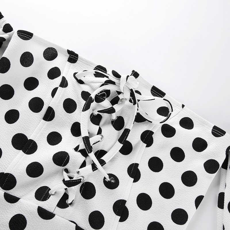 Weekeep женские сексуальные без бретелек с длинным рукавом с открытой спиной боди белые точки уличные женские весенние летние модные боди