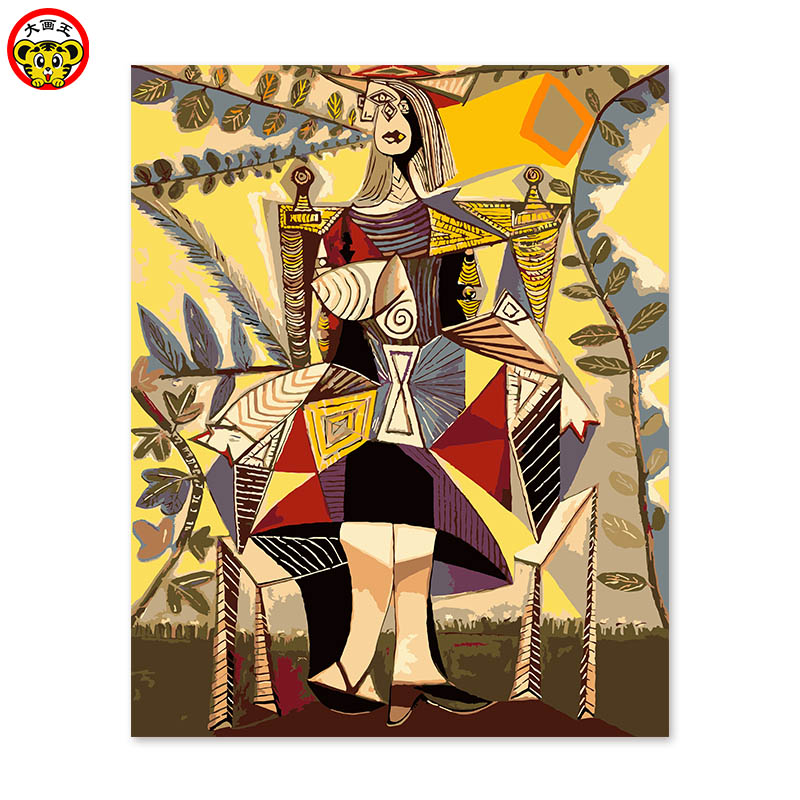 Painting By Numbers Art Paint By Number A Woman In The Digital Oil Color Picasso Sitting In The Abstract  Coloring By Numbers Pa