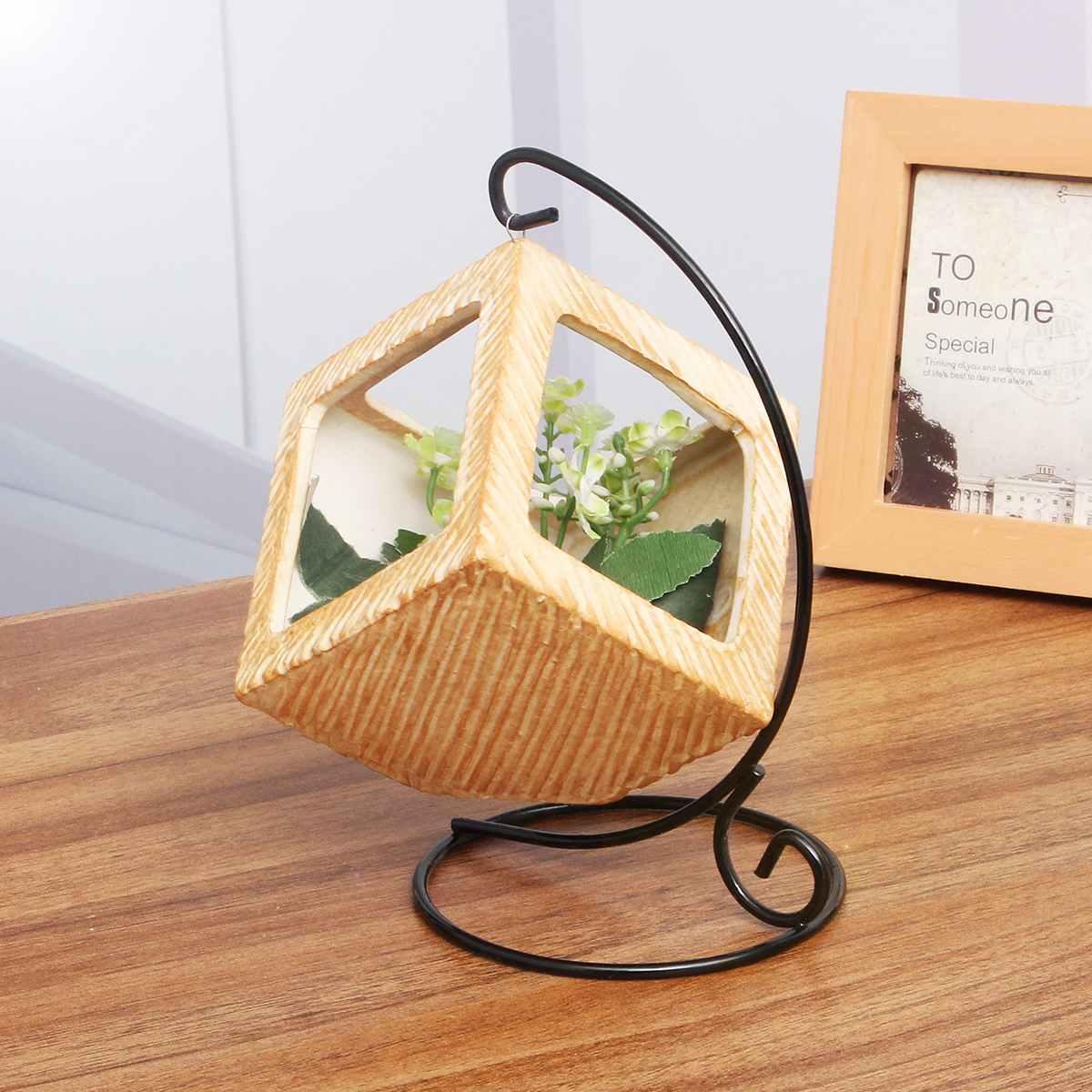 Iron Frame Hanging Basket Planter Pot Storage Holders Balcony Decorative Flower Vase Plants Racks for Home Office Desk Decor