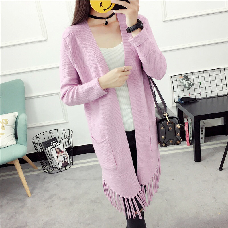 2017 And Winter New Pattern Long Tassels Knitting Unlined Upper Garment Woman Cardigan Easy Sleeve Sweater Loose