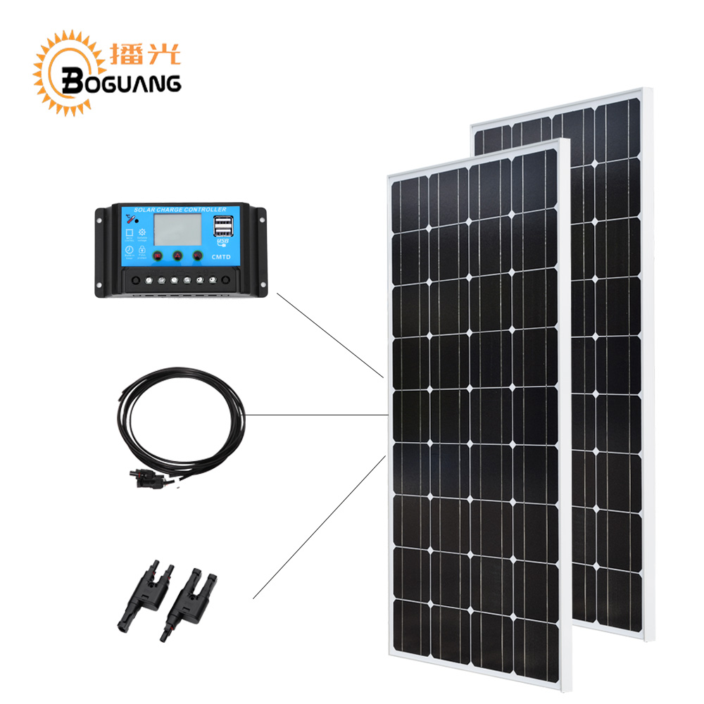 Boguang 12V 24V 20A controller 100w glass solar panel Monocrystalline cell PV module 200w Solar DIY