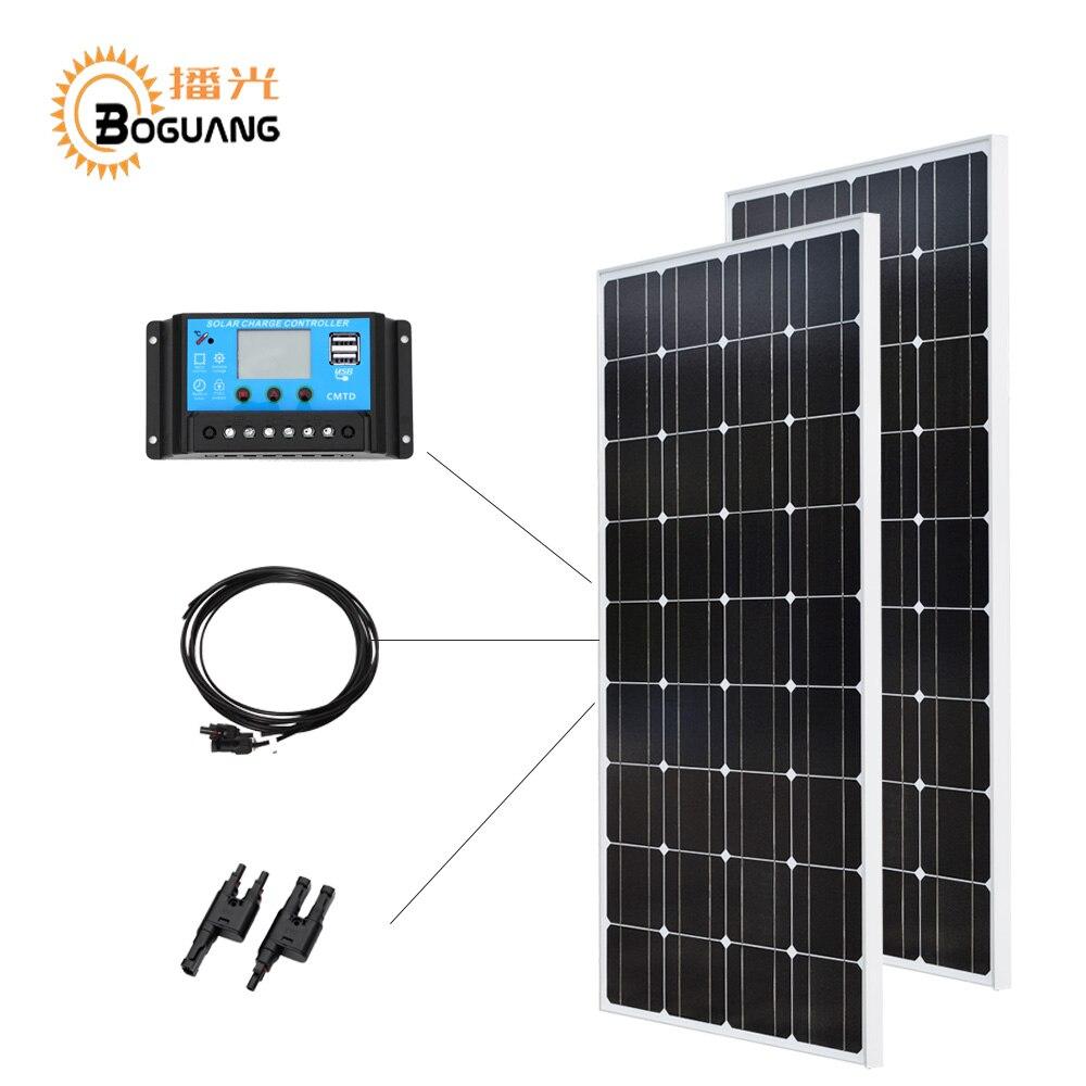 Boguang 12 В/24 В/20A контроллер 100 Вт стекло монокристаллическая солнечная панель ячейки PV Модуль 200 Солнечный DIY kit батарея дома зарядное устройств
