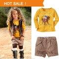 Conjunto de Roupas Da Menina das crianças 2017 Nova Marca de Moda de Algodão curto calça + T camisa Criança Do Sexo Feminino Outono de 2 peças conjunto ternos Meninas
