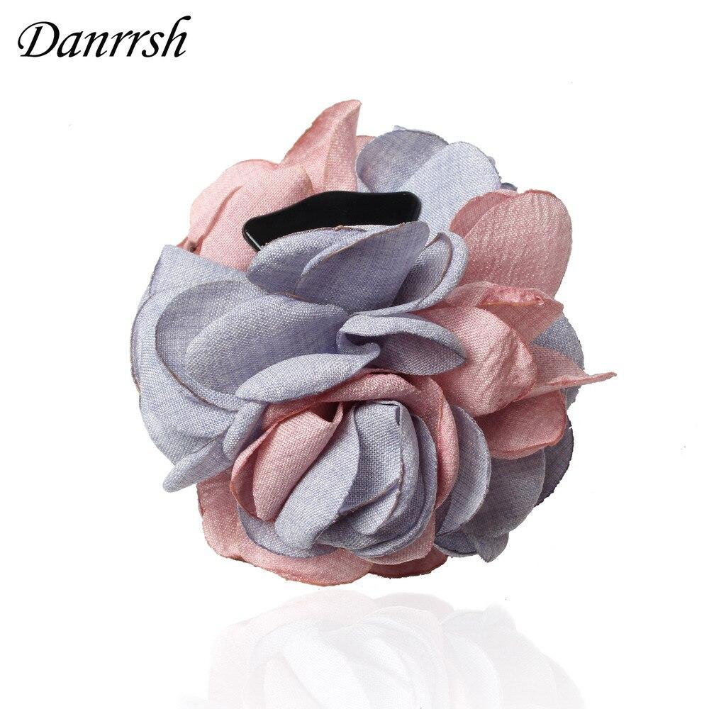 New Fashion Two Tone Thin Cloth Flower Hair Claws For Women Girls Hair Clip Headwear Spring Summer Hairpins Hair Accessories
