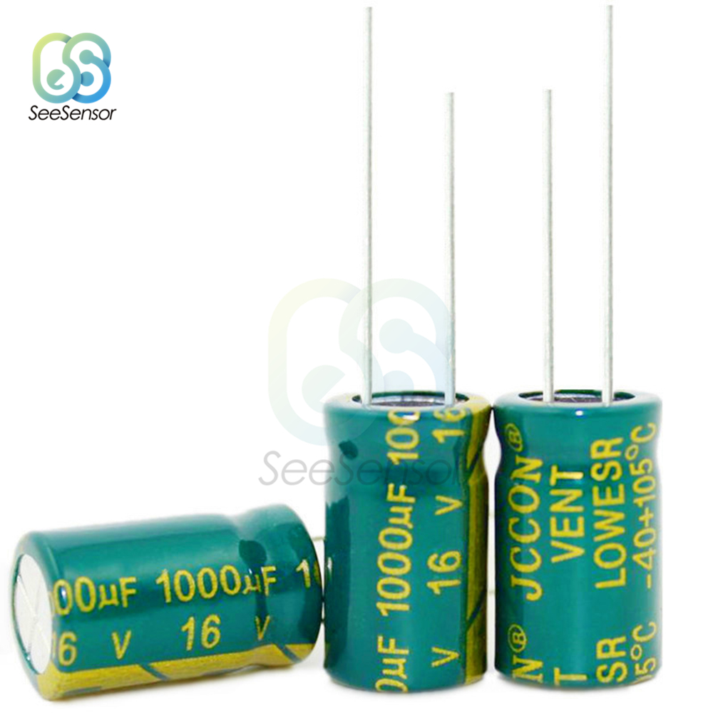 20pcs High Frequency <font><b>LOW</b></font> <font><b>ESR</b></font> Aluminum Electrolytic Capacitor <font><b>16V</b></font> <font><b>1000uF</b></font> 10x17mm image
