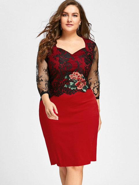 8339268c596 Gamiss Women Plus Size 5XL Lace Panel Floral Applique Bodycon Dress Sexy  Sweetheart Neck Party Pencil Knee Length Dress Vestidos