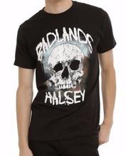 цена на Button Down Shirts O-Neck Cotton Short Sleeve Mens Halsey Badlands Skull Shirts
