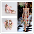 Pink Hair Bulb Thick with Super High Heels Clock Flower Princess Mary Jane Women Shoes Single Rivet Diamond Lady5-8 FreeShipping