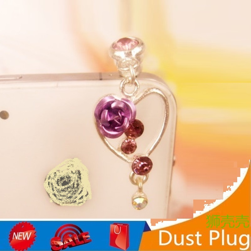 Gorgeous Peach Heart Rose Phone Pendant SmartPhone Headphone Dust Plug Moblie Phones Accessories 3.5mm Earphone jack Dust Plugs