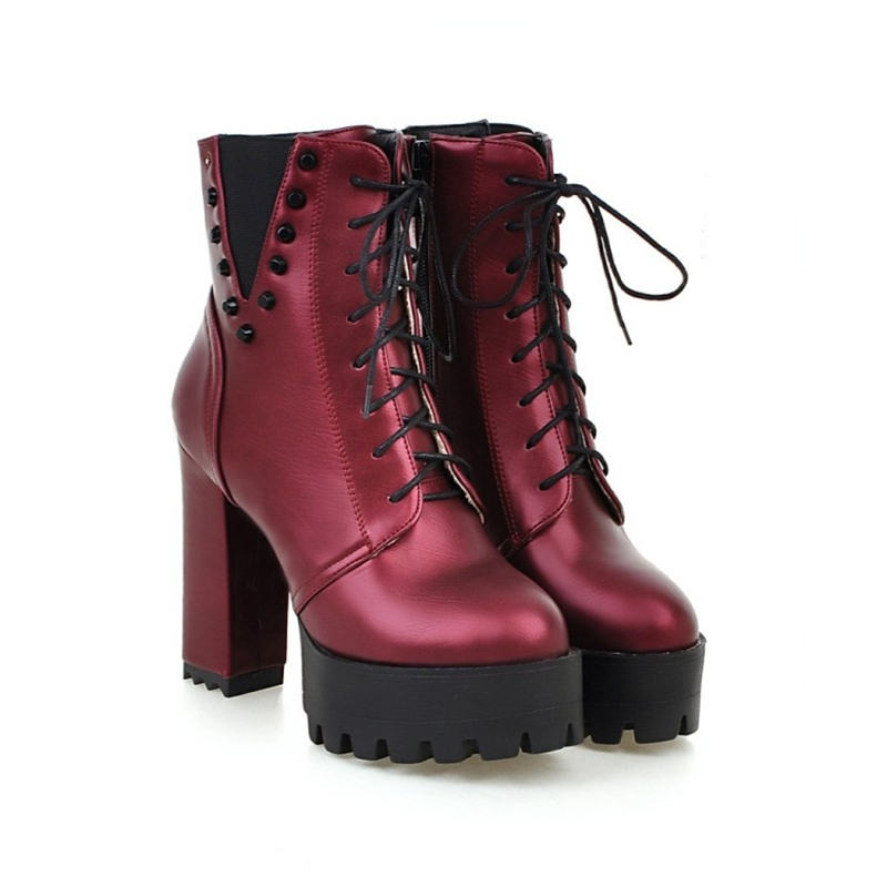 Winter Boots Women Shoes Punk Ankle Boots Black Wine Red Martin Boots Lace up Block High Heels Platform Boots Women Plus size 43 apoepo punk style silver mirror boots women lace up platform high heels shoes women boots sexy nightclub singer short boots
