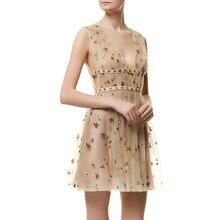 Ecombird 5а качество 2017 женские летние платья шампанское v воротник без рукавов звезды блестки мини vestidos элегантный торжеств и вечеринок
