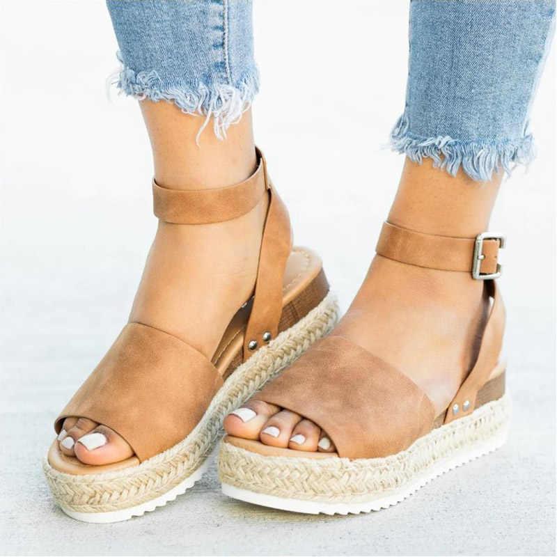 Vrouwen Sandalen Zacht Lederen Wiggen Schoenen Vrouwen Espadrilles Platform Sandalen Vrouwelijke 4 cm Hoge Hakken Sandalen Zomer Chaussures Femme