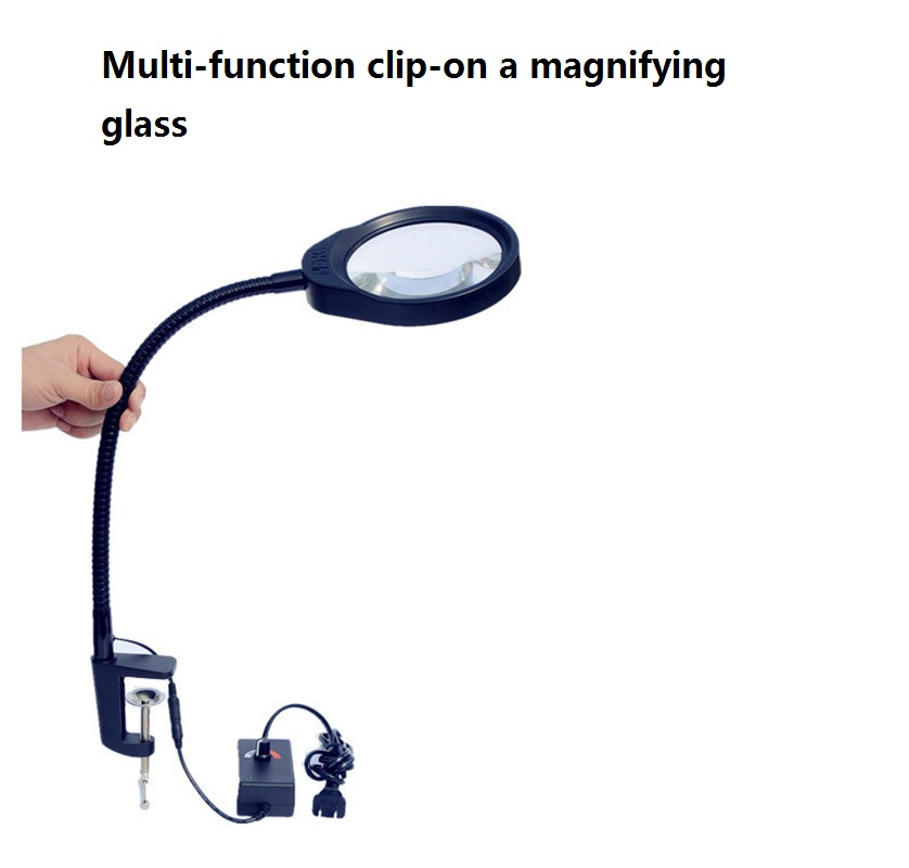 Table Magnifier 3X 5X 8X 10X 600MM Clip-on Desk Magnifying Glass with LED Lamp Lupa Loupe for Reading Watch PCB Repair 3x a4 full page large giant hands free desk foldable magnifying glass magnifier for reading sewing knitting with 4 led lights page 3