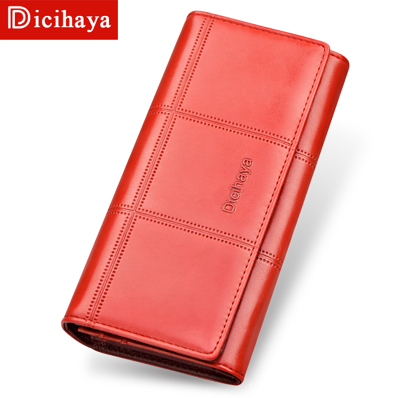 DICIHAYA NEW 2018 Genuine Leather Women Wallets Brand Long Design Clutch Bag Cowhide leather Wallet Card Holder Female Purse все цены