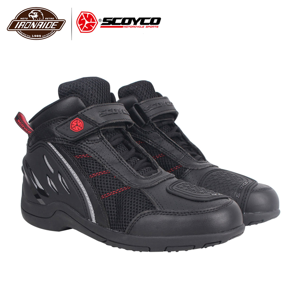SCOYCO Summer Motorcycle Boots Men Motorcycle Shoes Breathable Motocross Off-Road Racing Shoe Moto Boots Motorbike Riding Shoes