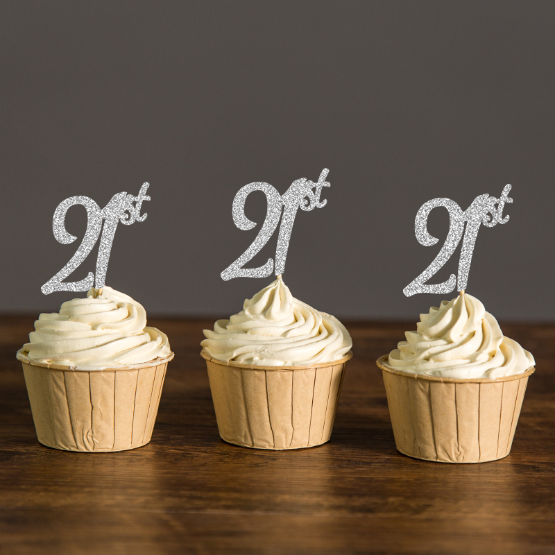 Gold silver black glitter twenty first cupcake toppers for 21st birthday decoration
