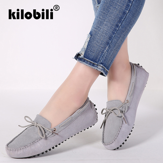 8da7e3b9badd kilobili 2019 Spring women ballet flats women loafers shoes female slip on  flat heel casual shoes leather suede flats Moccasins