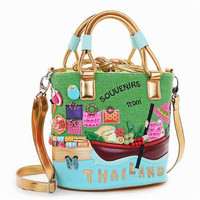 Woman Bags Fashion 2016 Designers Italy Braccialini Cute Candy Color Spring And Summer Canvas Bag Handbags