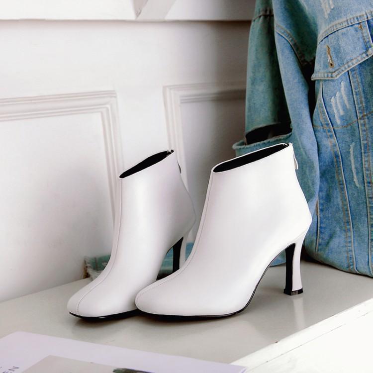 Zapatos Del blanco Blanco Para Botines Tobillo Con Cuero Damas De Cremallera Negro Dedo Botas Mujer Invierno Cuadrado Chic Tacones Pie Negro RvW5ZYq