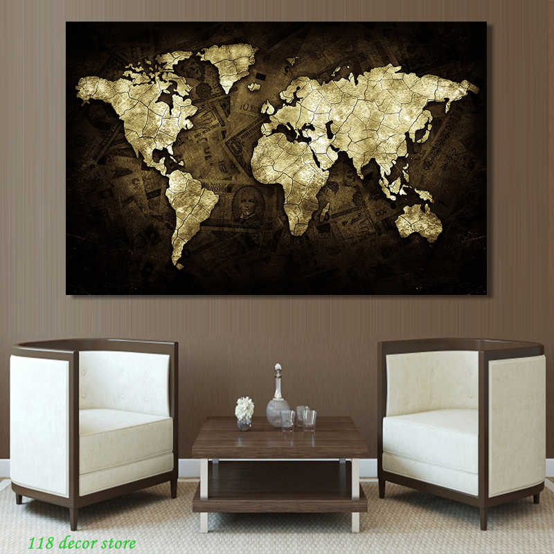 Modern Abstract Posters and Prints Wall Art Canvas Painting Gold-colored World Map Decorative Picture for Living Room Home Decor