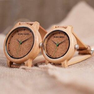 Image 3 - ボボ鳥腕時計竹カップル時計アナログディスプレイ竹素材手作り時計木製腕時計男性中国製