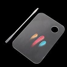 Palette de maquillage en acrylique transparent 1 ensemble, spatule en acier inoxydable tige de vernis à ongles Gel ombre à paupières mélange Kit d'outils cosmétiques