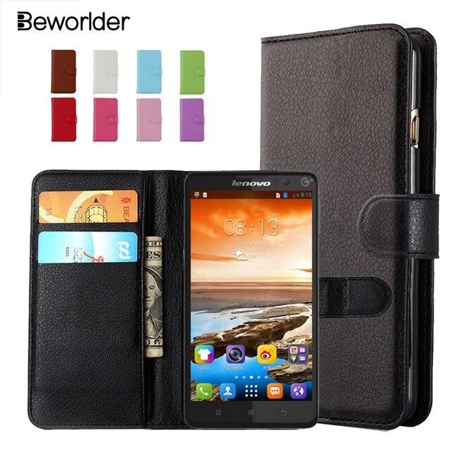 Beworlder Lichee Wallet PU Leather Case For Lenovo A319 A536 A850 S60 S90 S820 S850 S860 P1 P1m K3 Note Cover Card Holder