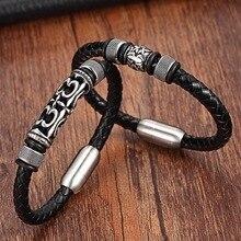 XQNI 2019 Fashion Stainless Steel Chain Genuine Leather Bracelet Men Vintage Bracelets