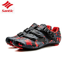 Santic Men Cycling Road Shoes Profession Self-Locking Cycling Sneakers Camouflage Women Bicycle Bike Shoes sapatilha ciclismo