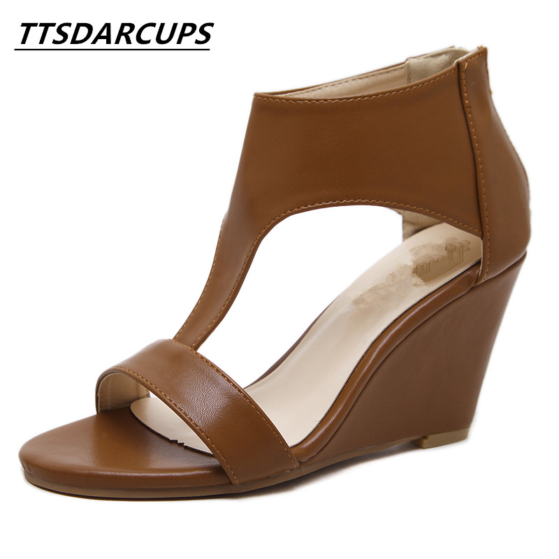 TTSDARCUPS new slope with all-match high-heeled pumps Womens Shoes Character night shop sandals Ankle intersecting belt