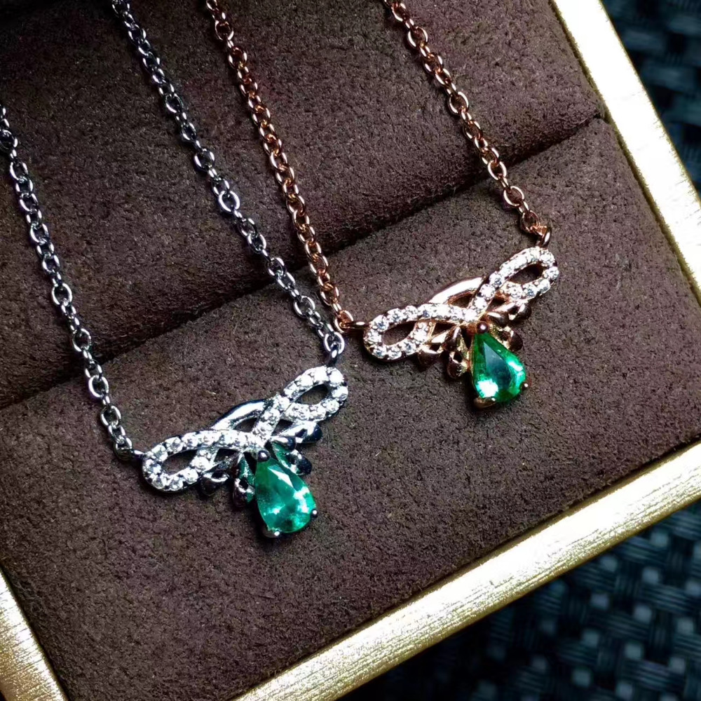 Natural green emerald Necklace Natural gemstone Pendant Necklace 925 sliver Elegant Simple bow drops women party fine Jewelry elegant artificial stone bow style zinc alloy necklace bronze green