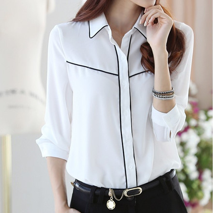 2017 Spring New Women Shirts Blouses Korean Blusas Plus Size Elegant Ladies OL Cotton Long Sleeve White Shirt for Women