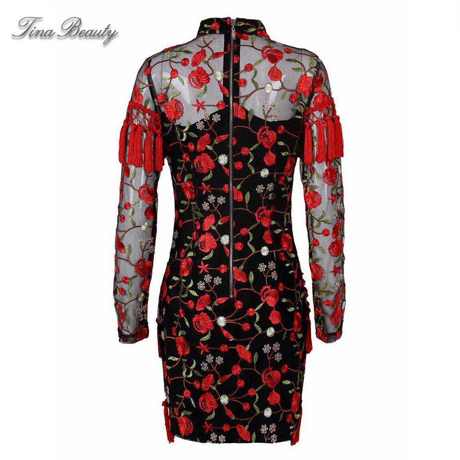 Tina Beauty femmes rouge col haut manches longues Mini robe gracieuse maille Floral broderie gland moulante gaine robe - 5