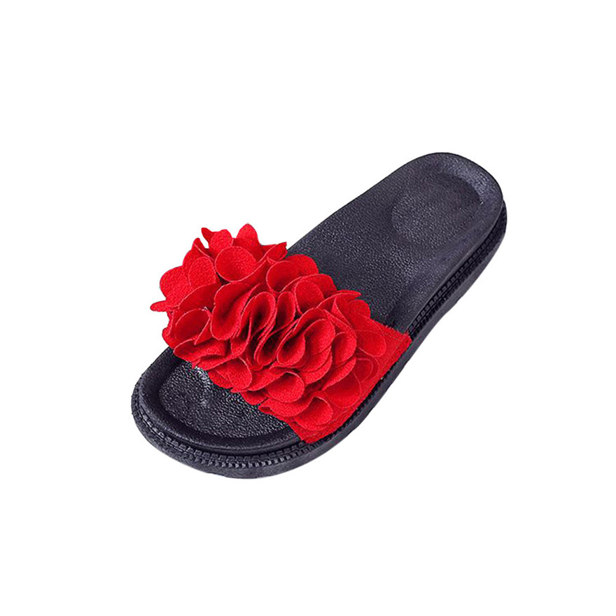 New Arrival Women Fashion Solid Color Suede Bow Hasp Flat Heel Square Toe Sandals Flower PU Leather slipper flip flops Sandals S
