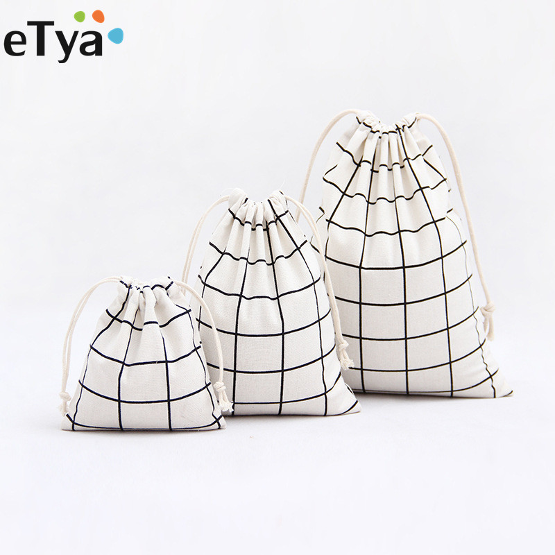 eTya 2018 New Fashion Women Men Drawstring bag Unisex Retro Travel Makeup Case Cosmetics Shoes Storage Toiletry Bag