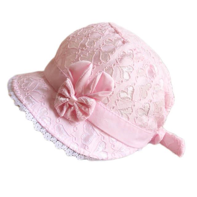 2ce2df777fa Online Shop Princess Flower Bow Come Hats Summer Caps Lace Hollow Sun Caps  Kids Girls Beach Sun Hats harajuku bucket hat vissers hoed
