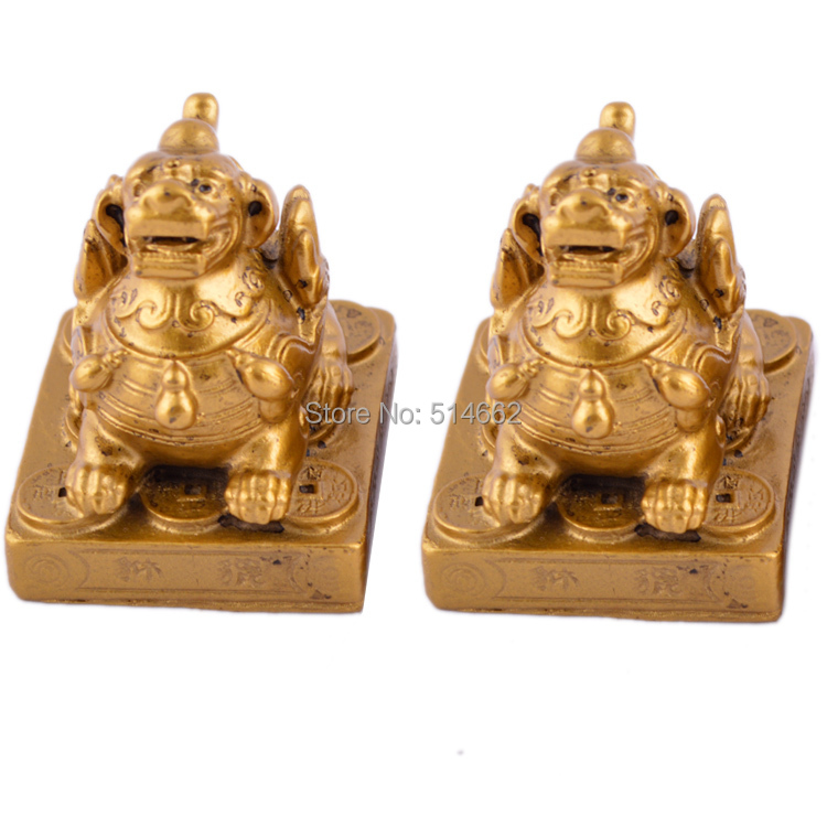 A Pair Of Small Feng Shui Protective Pair Pi Yao For Wealth Luck Pi Xiu Decoration J1027
