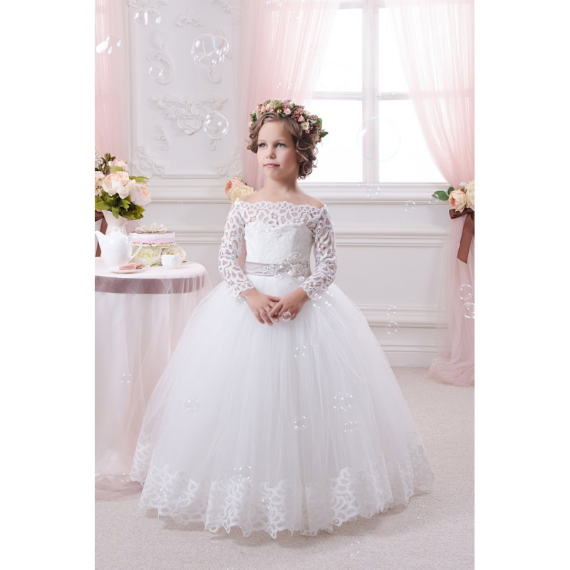 3141ae46da0 Princess White Lace Long Sleeve First Communion Dresses for Girls Ball Gown  Flower Girl Dresses for Weddings Party Cheap-in Flower Girl Dresses from ...