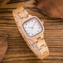 Women's Wooden Watch With Rhinestones