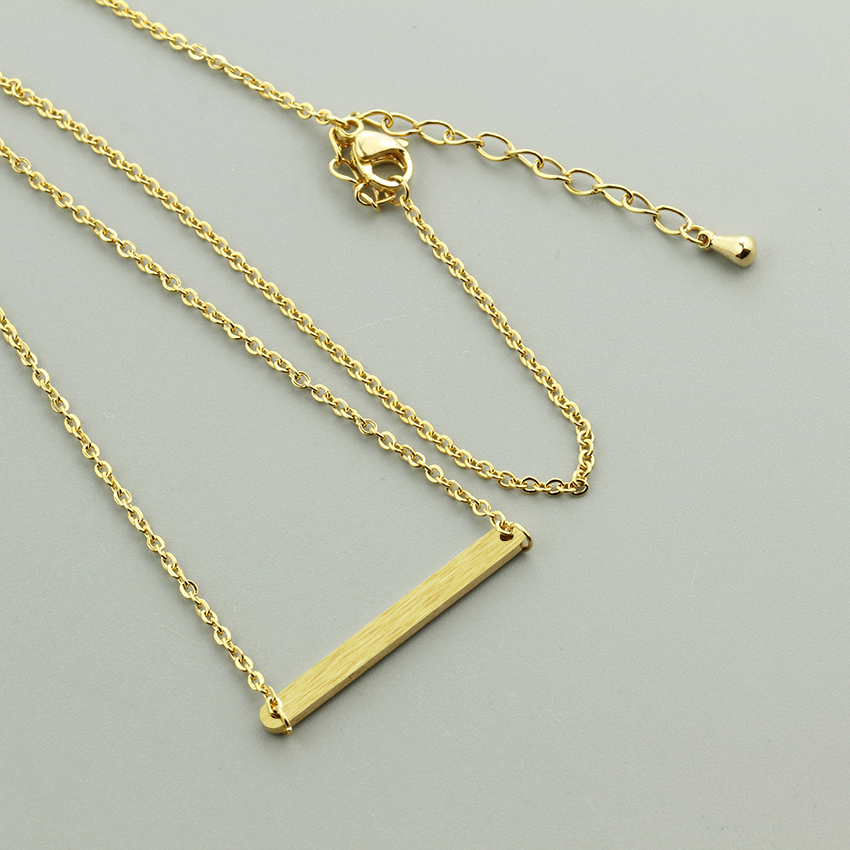 Minimalist Jewelry Tiny Simple Bar Necklace 2016 Name Gold Plated Dainty Layering Stainless Steel Chain Necklaces Pendants