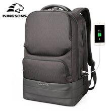 Kingson الرجال على ظهره 2.0 USB إعادة شحن طارد المياه حقائب الكمبيوتر المحمول الرجال الأعمال موضة حقائب كتف التكنولوجيا السوداء