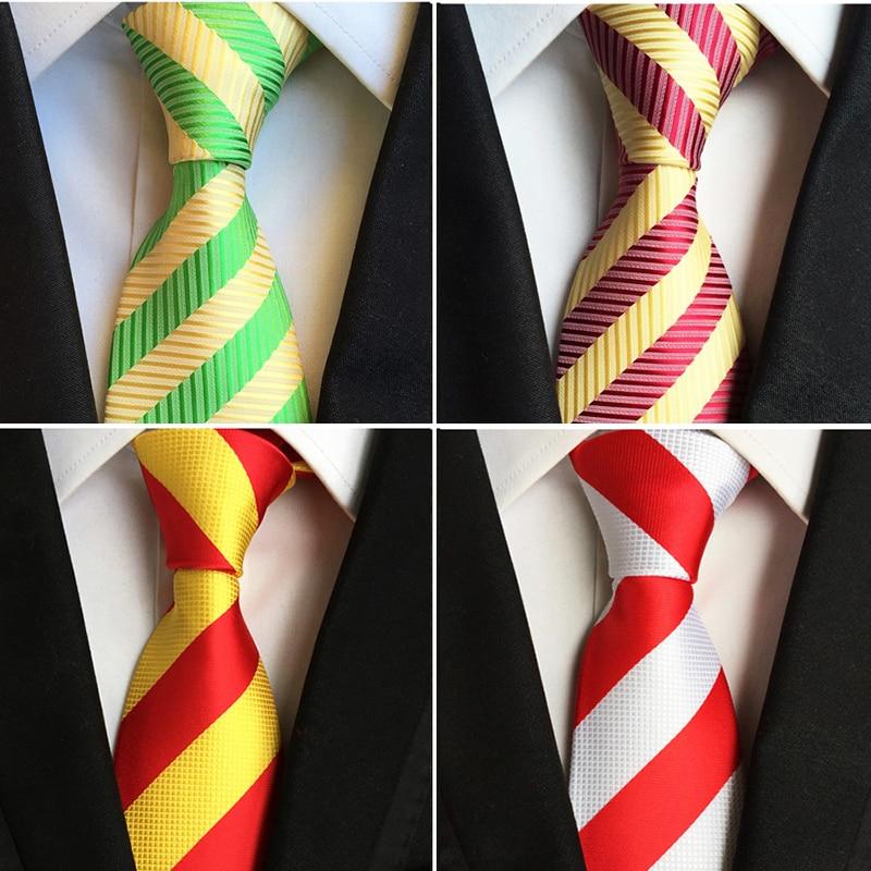 Ricnais Fashion Trend Men Tie 100% Jacquard Woven Silk Mens Ties Necktie 8cm Striped Ties For Men Business Suit Wedding Party