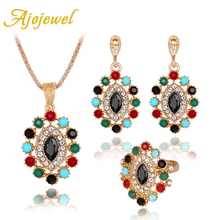 hot deal buy 3 pcs african cheap fashion jewelry sets coloful resin stone necklace earrings ring bohemian style costume jewelry