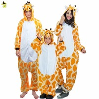 New Autumn And Winter Christmas Pajamas Sets Giraffe Cartoon Sleepwear Adults Kids Pajamas Giraffe Flannel Animal