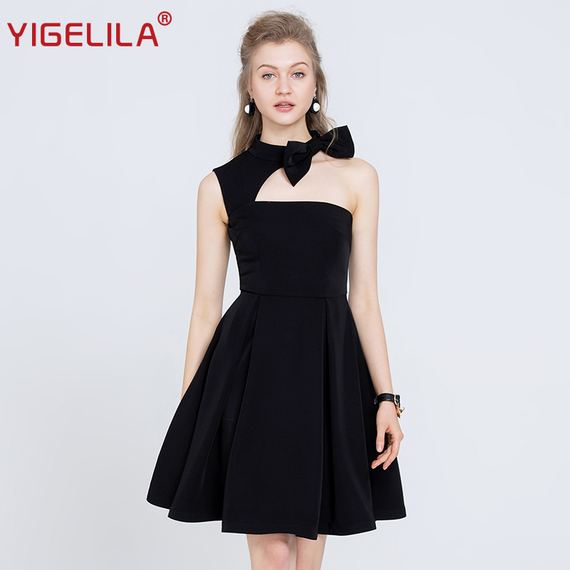 YIGELILA 2019 Women One Shoulder Halter Party Dress Fashion Solid Sexy Sleeveless Backless Bow Empire Little